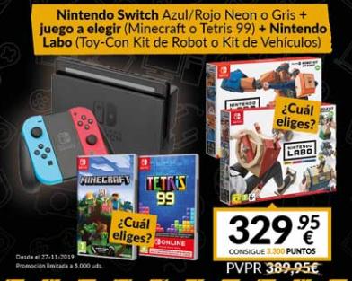 Nintendo Switch (no sé que version) + Ninendo Labo + 1 Juego (Tetris 99 o Minecraft)