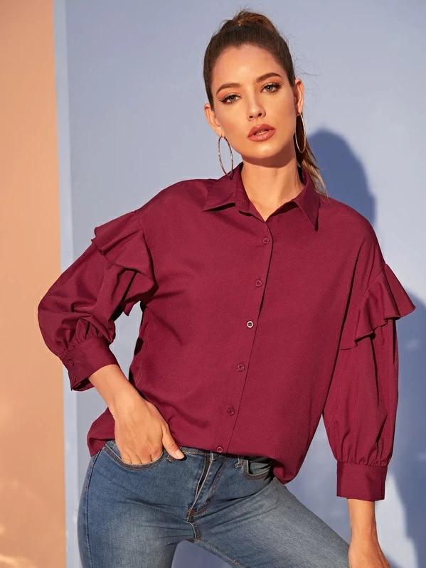 Camisa Ribete Fruncido Unicolor
