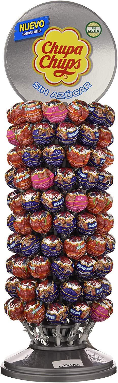 Chupa Chups, Caramelo con Palo Sin Azúcar de Sabores Variados - Rueda de 120 unidades de 11 gr/ud