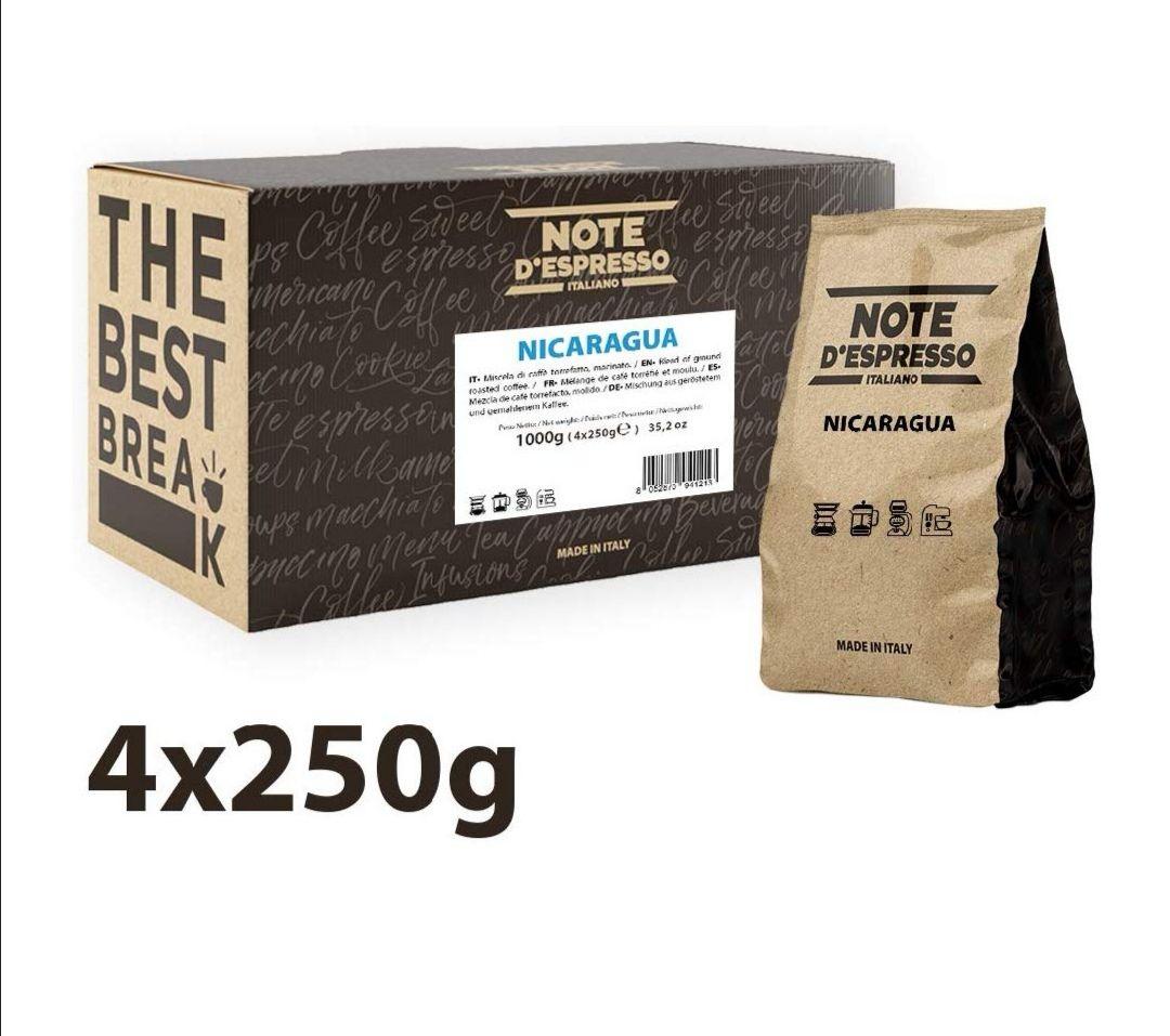 Note D'Espresso - Café de origen molido de Nicaragua, 250g (caja con 4 paquetes blandos)