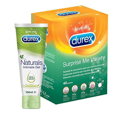 Pack Ahorro Durex 40 Condones + Lubricante Naturals