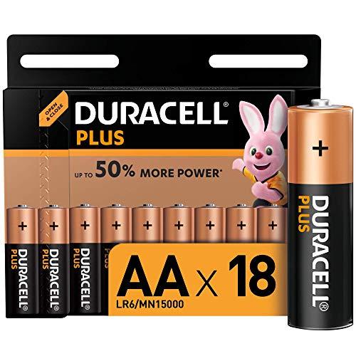 Duracell - Plus AA, Pilas Alcalinas - Paquete de 18