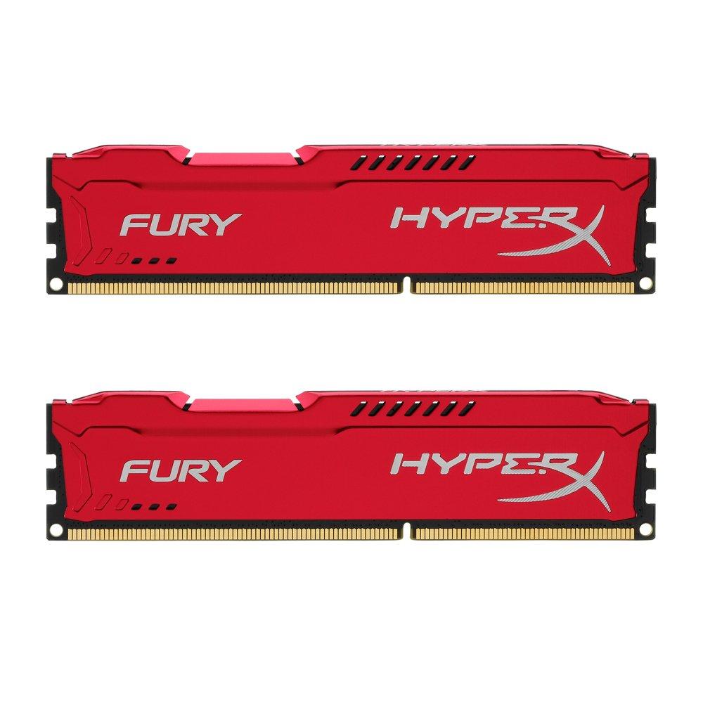 HyperX Fury - 16Gb 1866 MHz DDR3 CL10, Kit de 2 x 8 GB, Color Rojo