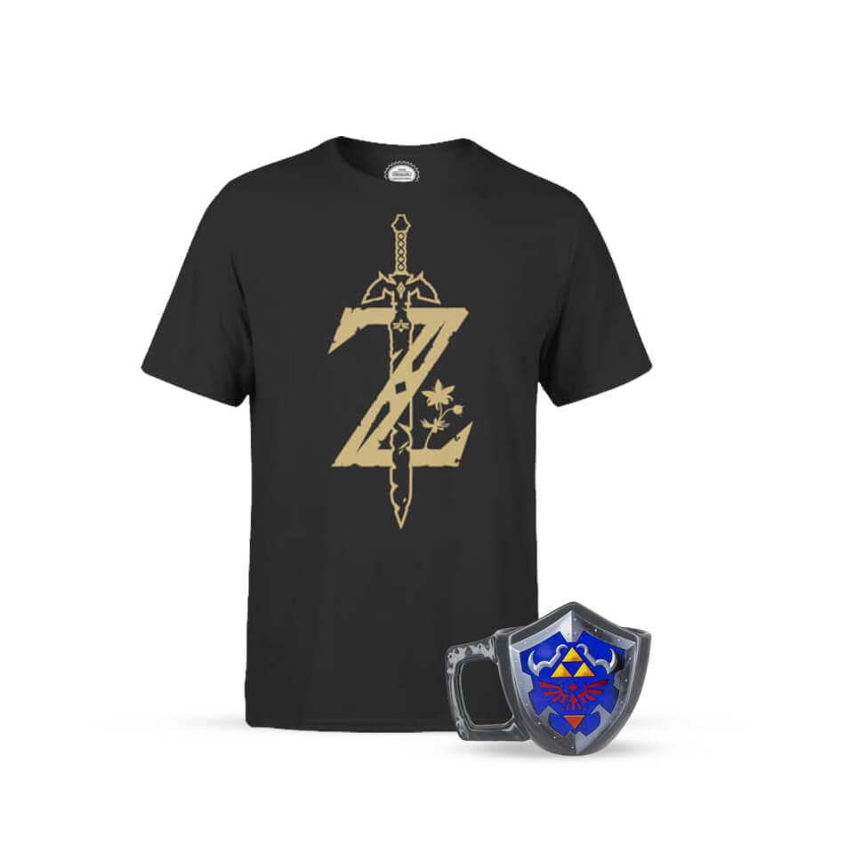 Pack Nintendo Legend of Zelda - Camiseta Espada Maestra y Taza Escudo