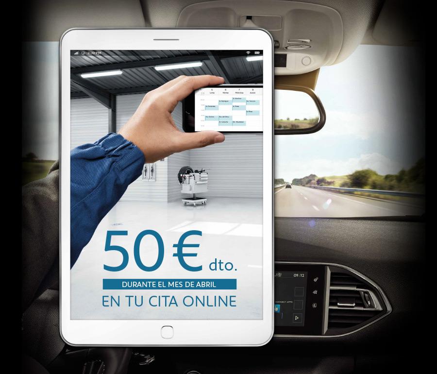 50 euros de descuento para vehículos Peugeot al pedir cita online en el taller