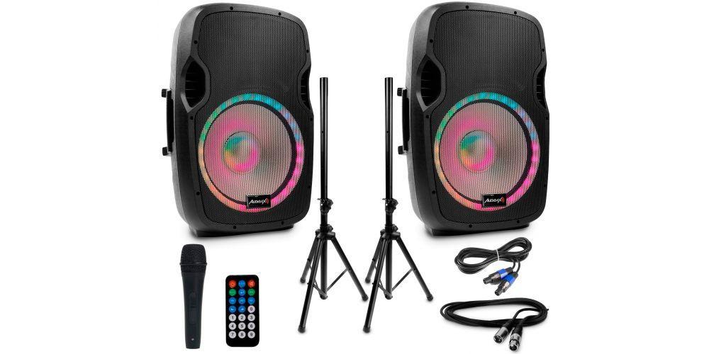 "Audibax Party 215 Led Set 2 Altavoces 15"" PRO 600W Pico + Soportes + Cableado + Micrófono"
