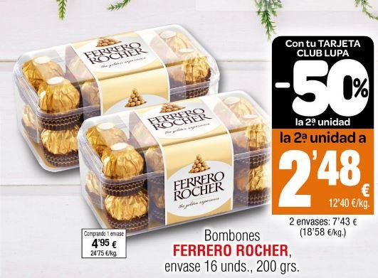 Ferrero Rocher, 16 unidades (200grs) en supermercado Lupa (Cantabria, La Rioja y Castilla y León)