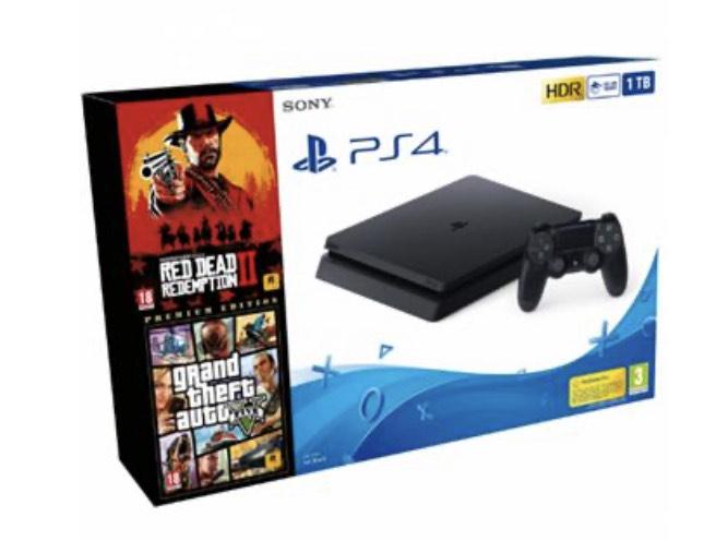 Consola PS4 Slim 1TB Red Dead Redemption 2 + Grand Theft Auto V - Premium Edition