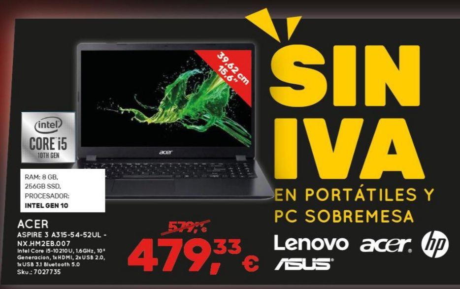 Portátil Acer 10th Gen 8GB ram 256 ssd (Worten La Orotava, Tenerife.)