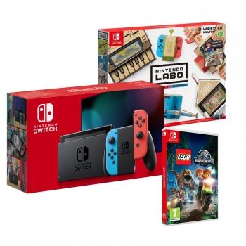 Nintendo Switch Neón con LABO Kit Variado y LEGO Jurassic World