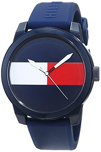 Tommy Hilfiger Reloj analógico clásico para hombre con correa de silicona