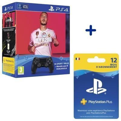 Pack FIFA 20 + Dualshock Negro V2 + 12 Meses de Suscripción PS Plus por 109,99€