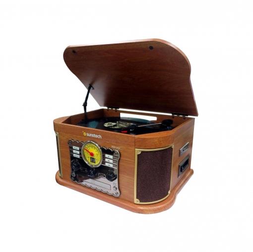 Giradiscos de Madera Sunstech PXRC52CD con Bluetooth