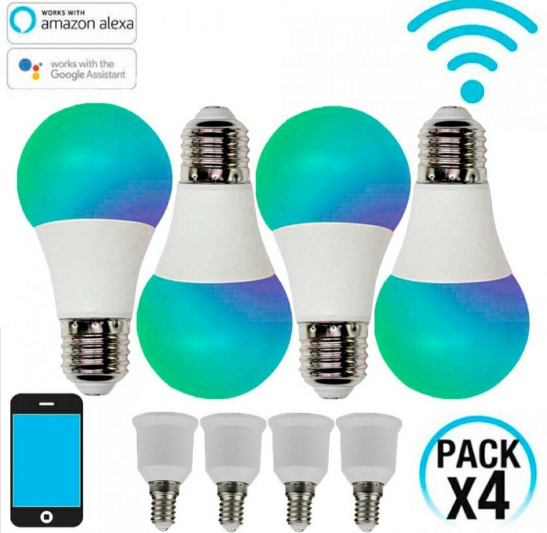 PACK 4 Bombillas LED RGBWW WiFi E27 con Adaptador E14 10W