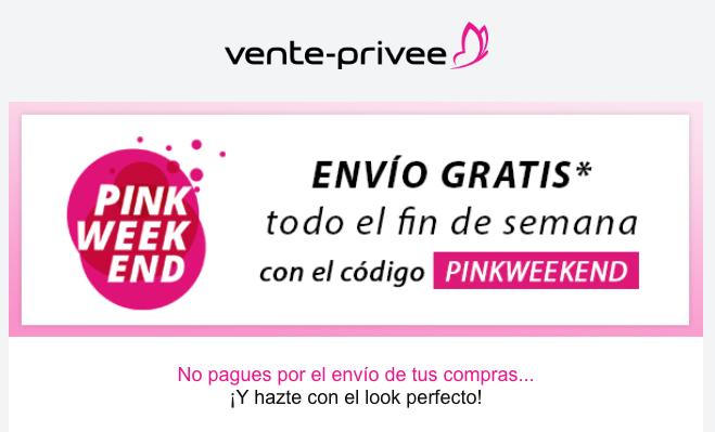Envío GRATIS durante el fin de semana con el Código: PinkWeekend