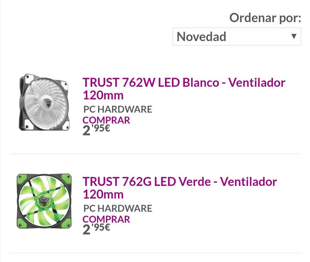 Ventilador LED PC Trust 762 120mm en Blanco y Verde