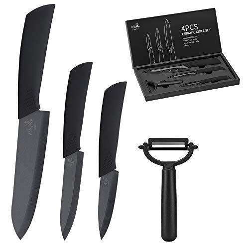 icxox Cuchillos de Cocina de Cerámica, 4 Piezas (3 x Cuchillos de Cerámica, 1 x Pelador de Cerámica, Negro)