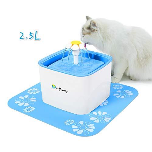 isYoung Bebedero Gatos Fuente Silencioso 2.5L para Perros y Gatos Bebedero Automático