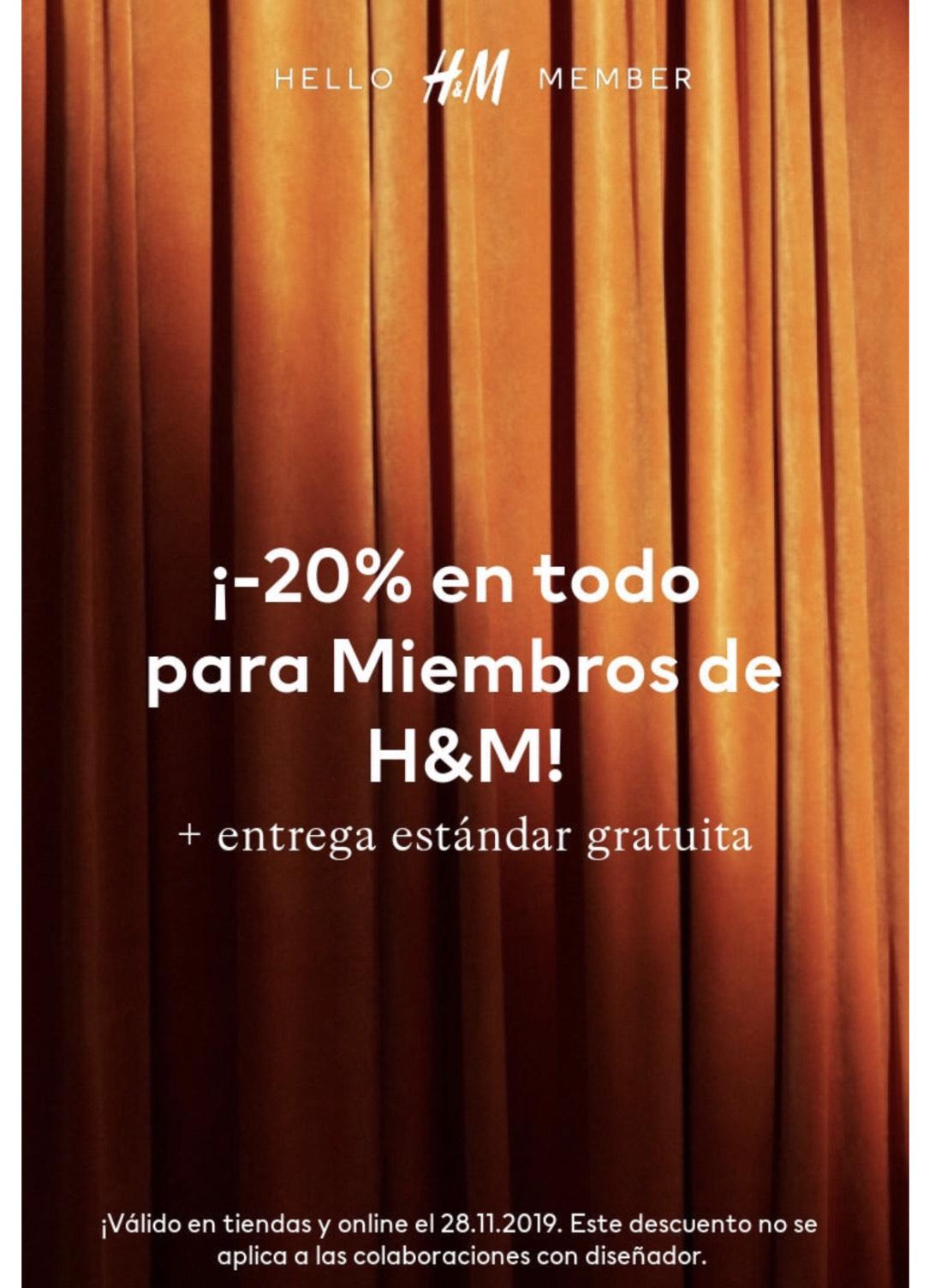 - 20% en todo - El black de H&M empieza hoy para miembros club!