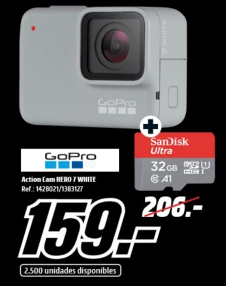 Pack Chollazo GOPRO Hero 7 White + MicroSd 32Gb Sandisk Gratis.