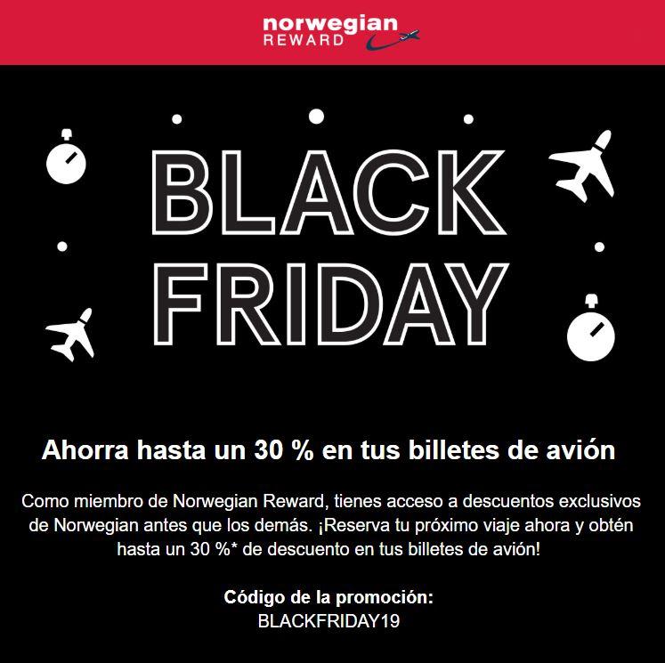 BLACK FRIDAY EN NORWEGIAN - HASTA 30% DESCUENTO