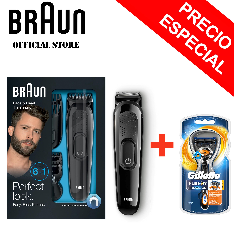 Kit de Afeitado 6 en 1 Braun Multigroomer MGK 3020 + Gillette Fusion ProGlide