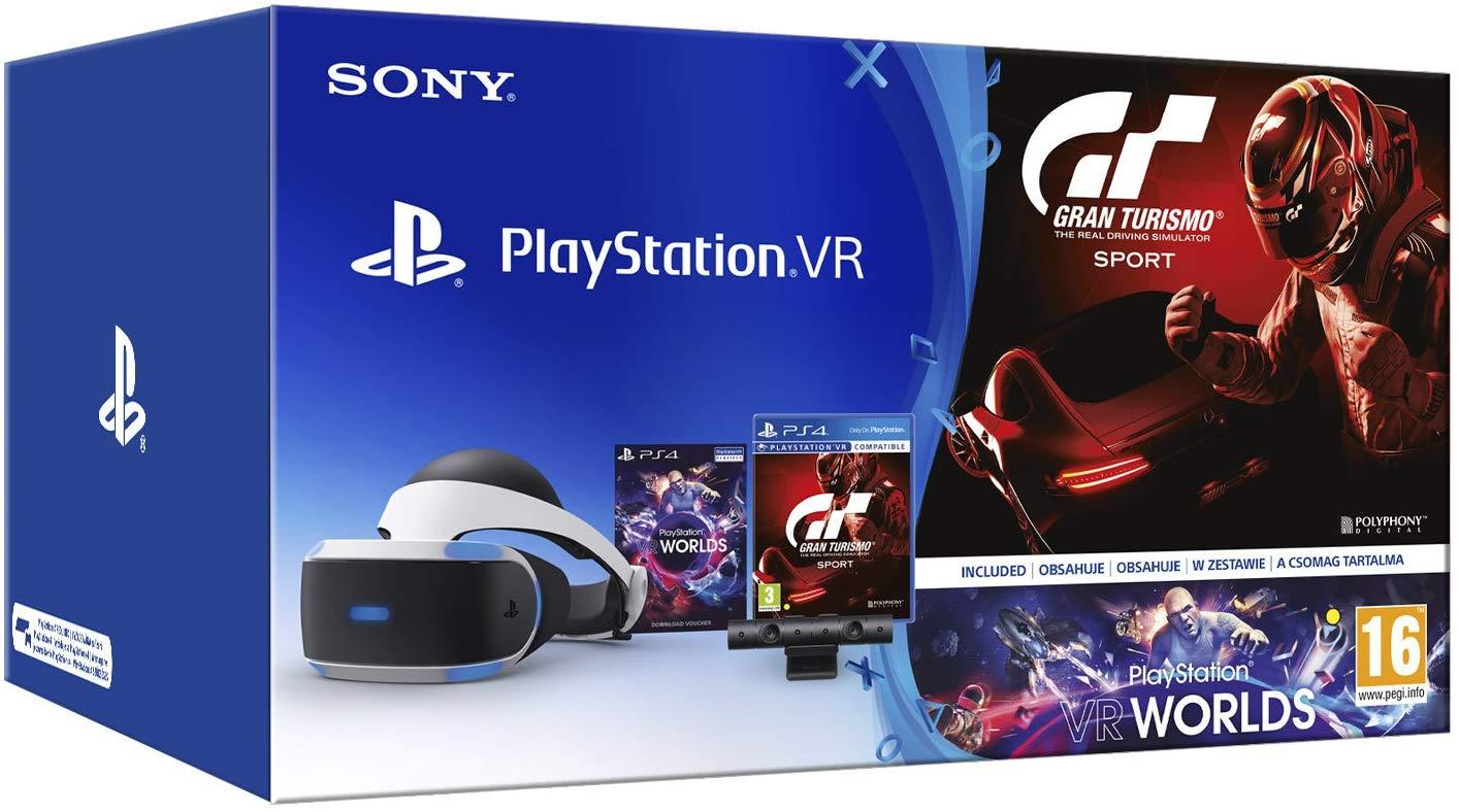 Pack SONY Gafas PS4 VR + Cámara + Juego VR Worlds PS4 + Gran Turismo Sport PS4
