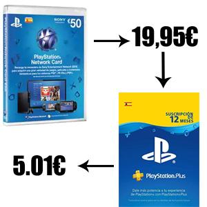 Tarjeta de 50 euros a 19,95€ - ¿PlayStation Plus 1 año a 19,95€?