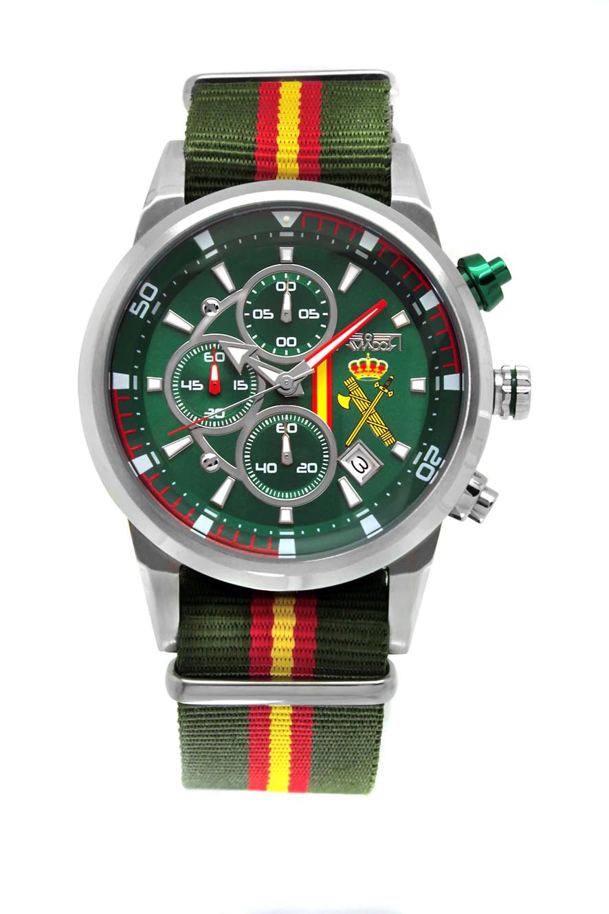 Reloj Oficial de la Guardia Civil con Esfera Verde y Bandera de España AV-1060-39-NV