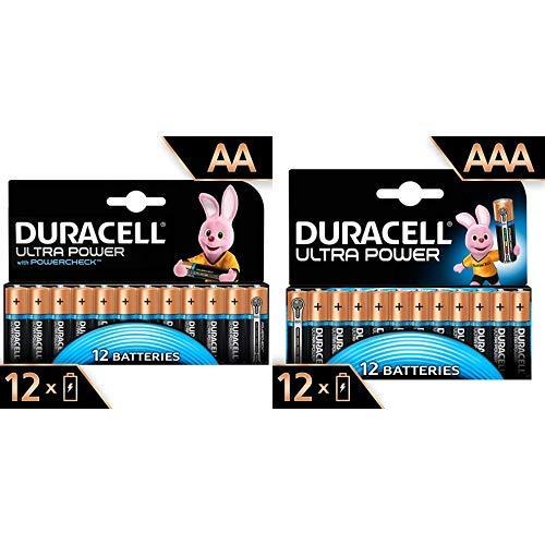 Duracell - Ultra Power 12 pilas AA + pilas AAA con Powerchek