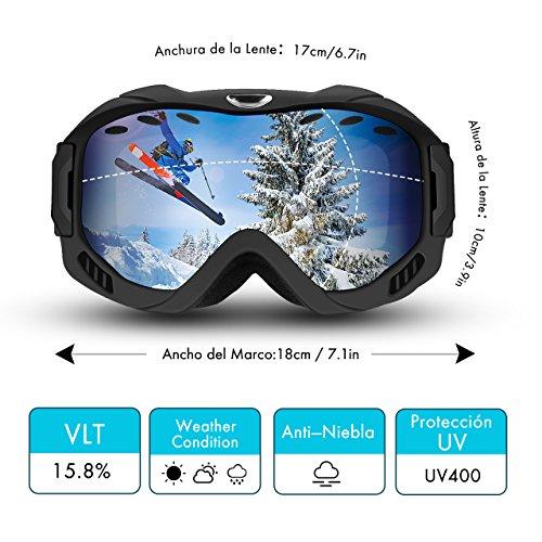 Gafas de Esquí Gafas de Snowboard, Lente de Doble Capa, Protección UV y Antiniebla OTG