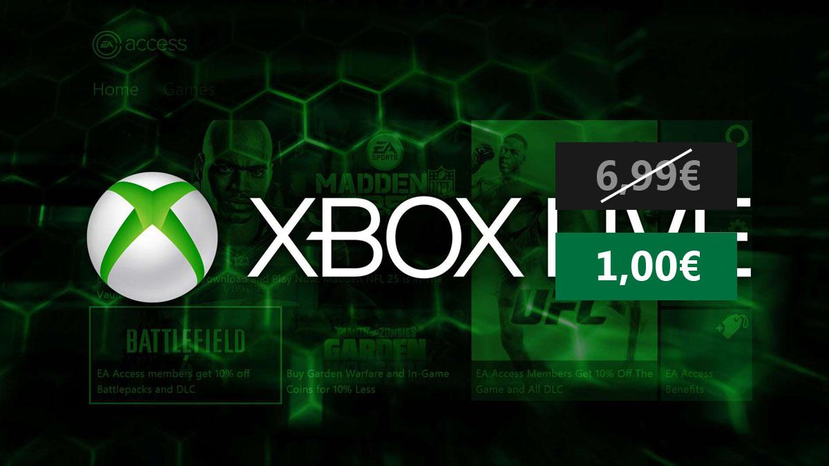XBOX One/360: 1€ = 1mes Suscripción Xbox Live Gold