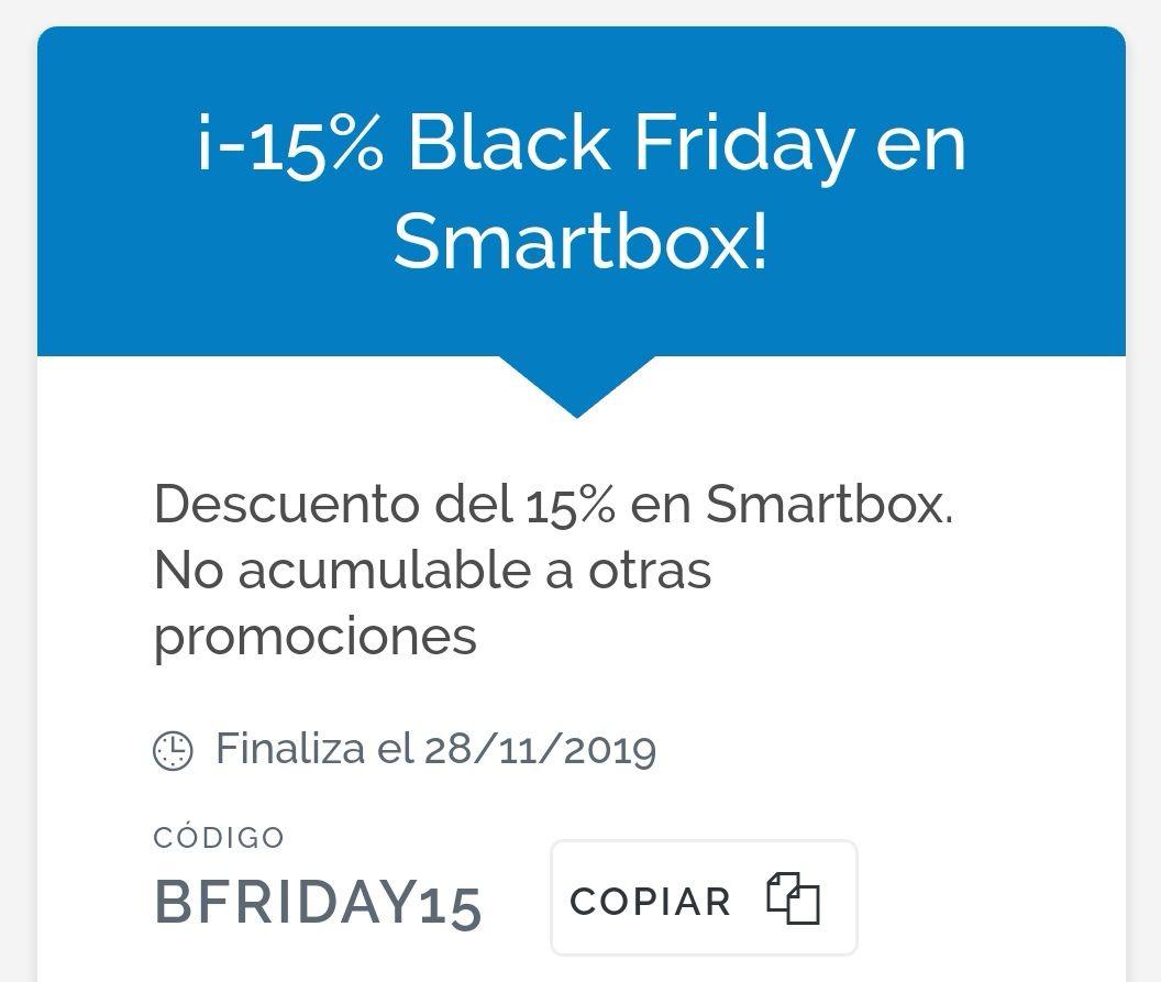 SMARTBOX 15% descuento cajas regalo y experiencias (hasta 28/11/2019)