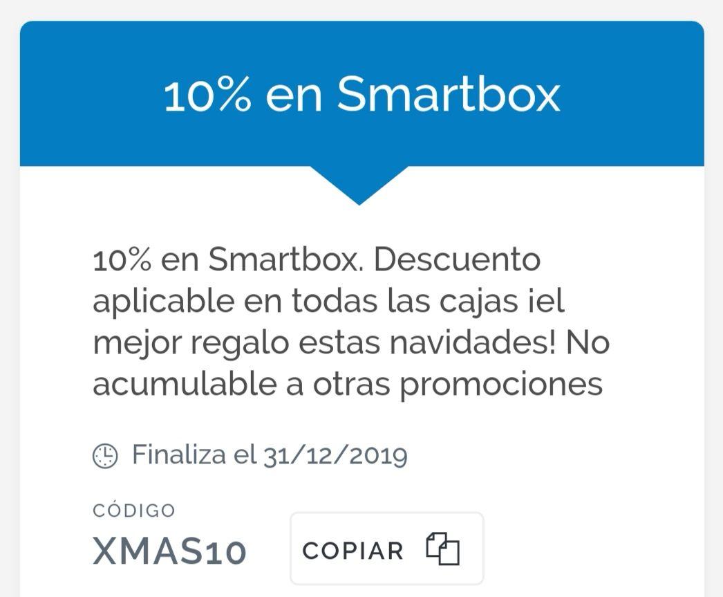 SMARTBOX 10% de descuento navideño en experiencias y cajas regalo (hasta el 31/12/2019)