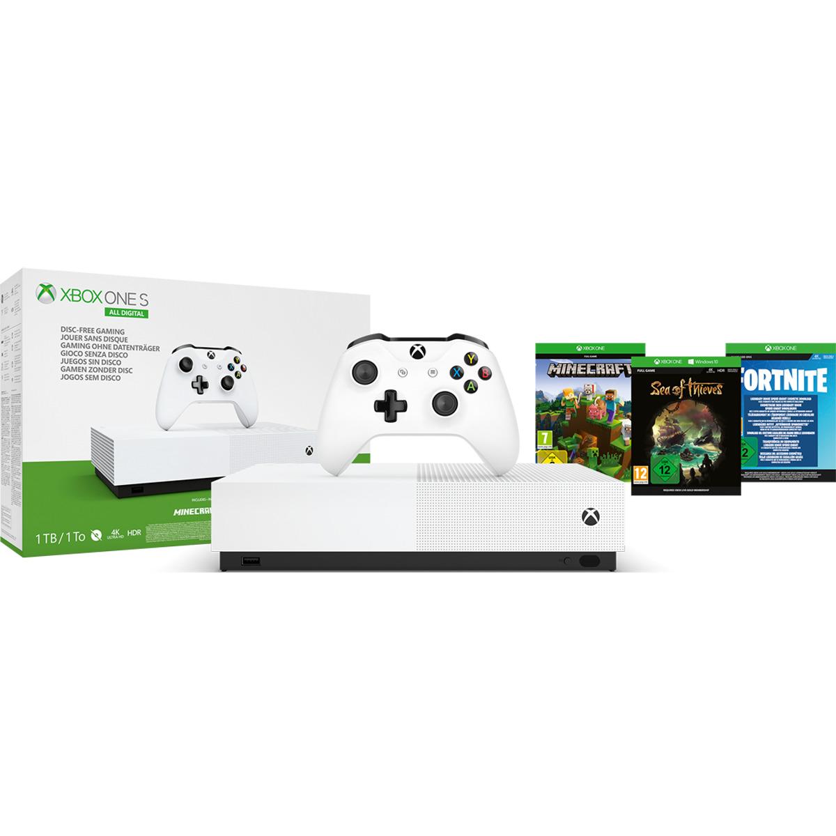 XBOX ONE S 1TB All-Digital Edition + (Sea of Thieves, Fortnite y Minecraft)