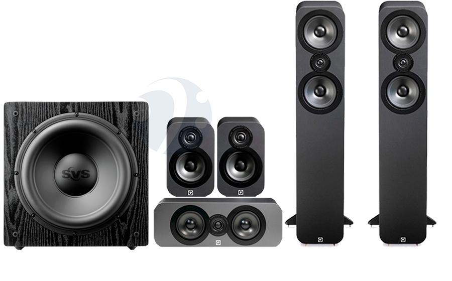 Set home cinema Q acoustics 3050 con subwoofer SVS SB12-NSD