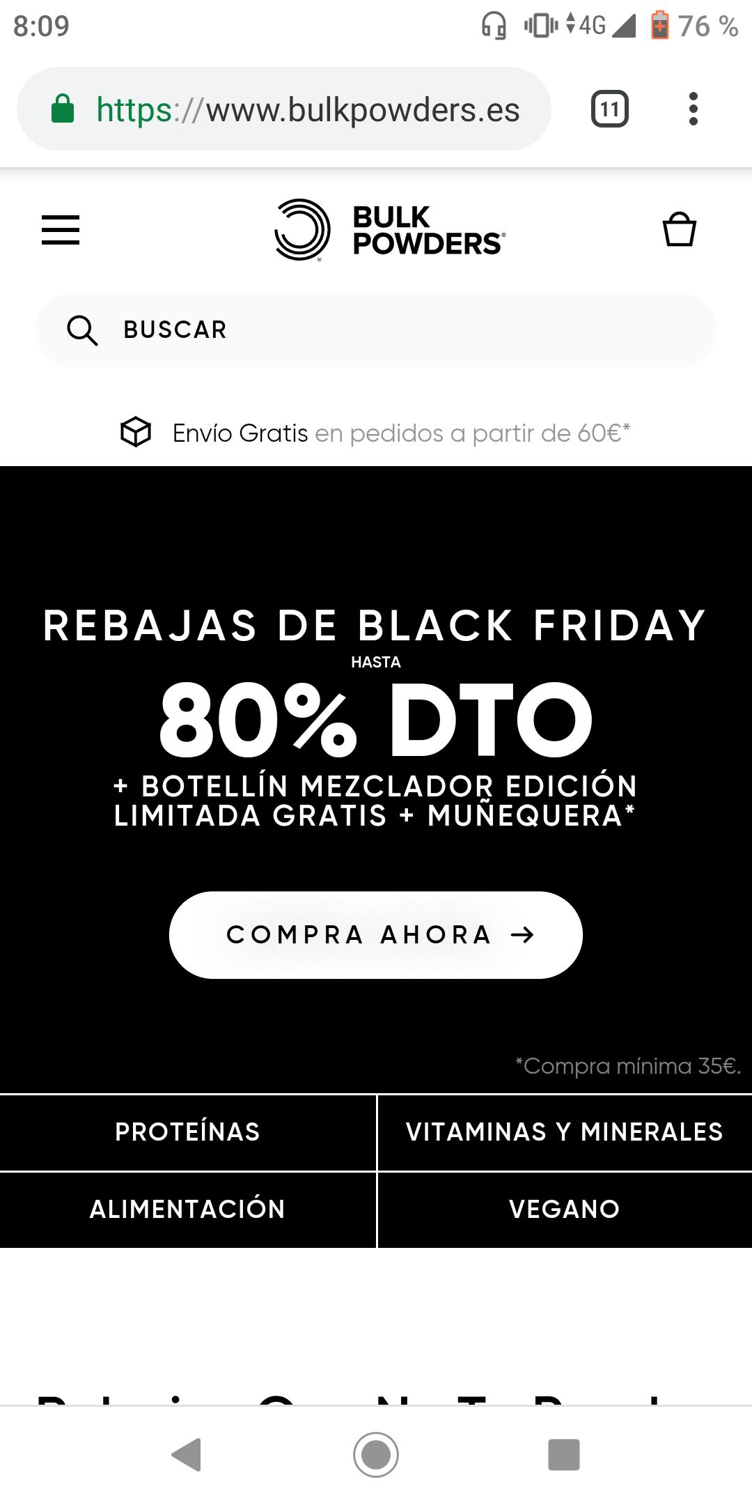 Hasta 80% de dto. en TODO +Botellin Mezclador +Muñequera en BULK POWDERS