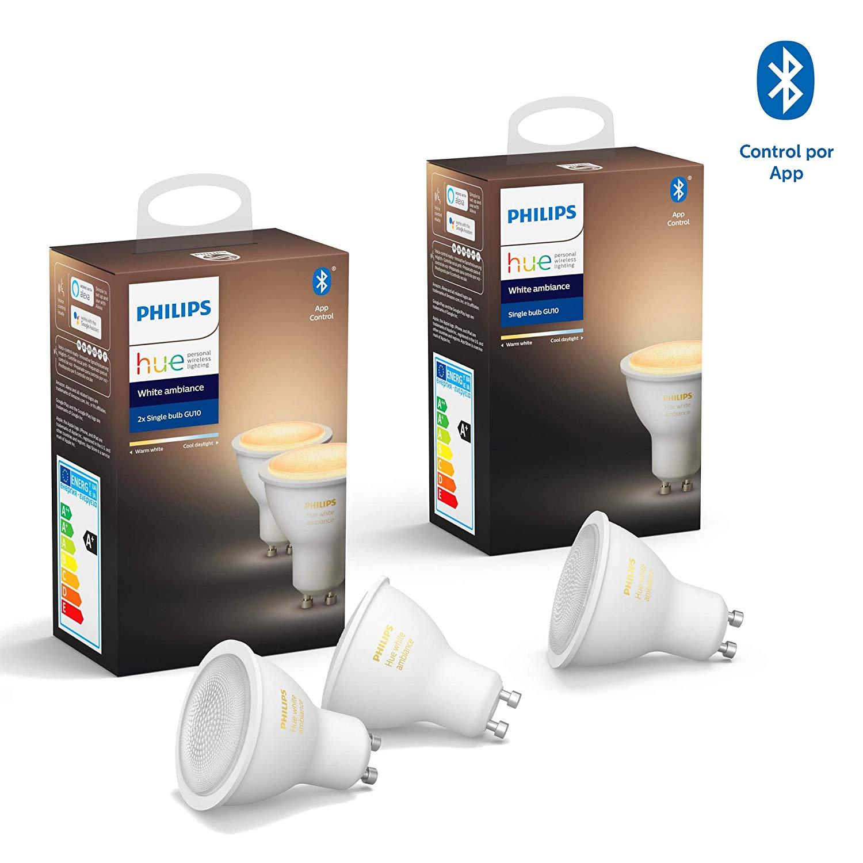 Philips Hue White Ambiance 3 bombillas LED inteligentes GU10 funciona con Alexa