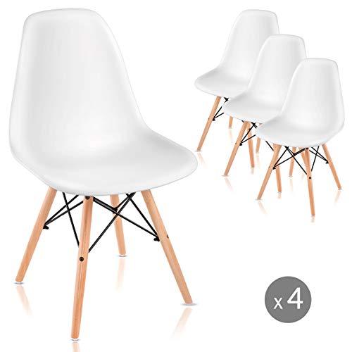 Mc Haus Pack 4 sillas Nordicas para Comedor o Exterior, 61x61x53