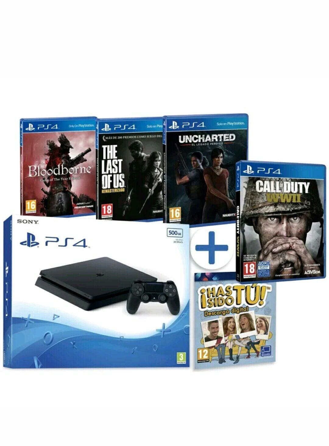 PS4 500GB + UNCHARTED EL LEGADO PERDIDO + COD WW2 + BLOODBORNE GOTY + LAST OF US REMASTERIZADO+ ¡HAS SIDO TU!