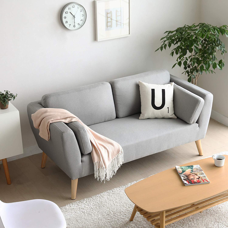 Mc Haus - Sofa Evy gris claro 2 plazas diseño nordico