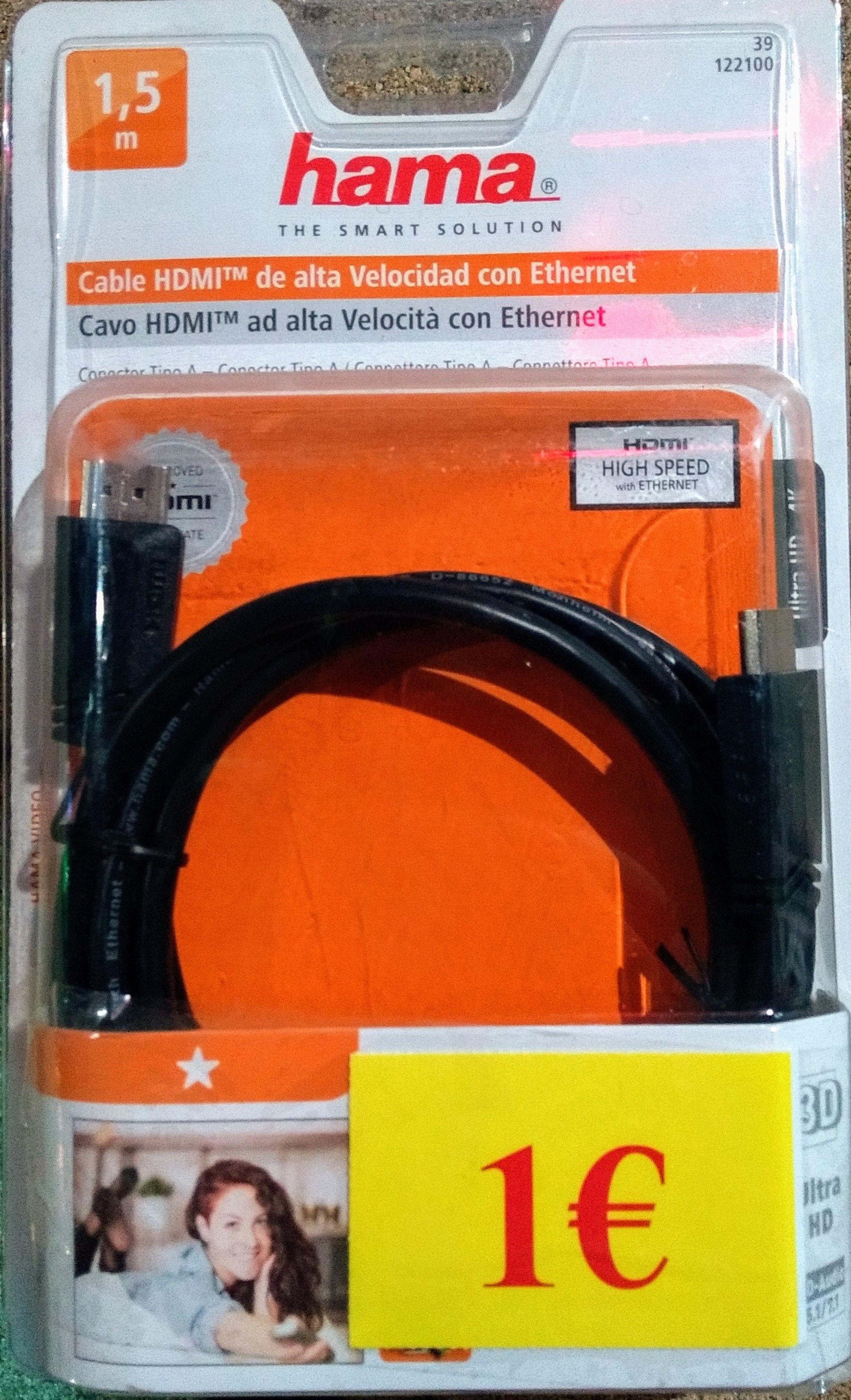 Cable HDMI marca Hama válido para 4K (Conforama San Sebastián de los Reyes)