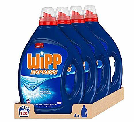 Wipp Express Detergente Líquido Azul - Pack de 4, Total: 120 Lavados