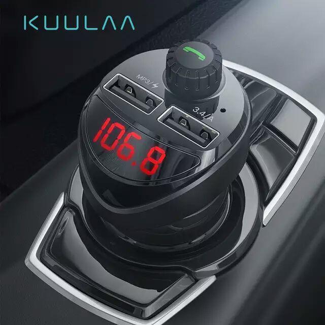 KUULAA Cargador de coche doble USB de 3.4A + transmisor FM RECEPTOR + Bluetooth + reproductor de Audio MP3