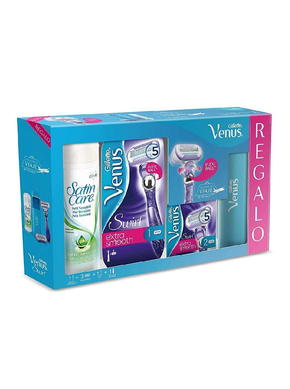Gillette Venus Swirl - Set Maquinilla para Mujer con 2 Recambios, Funda de Viaje y Gel de Depilación Satin Care, 200 ml
