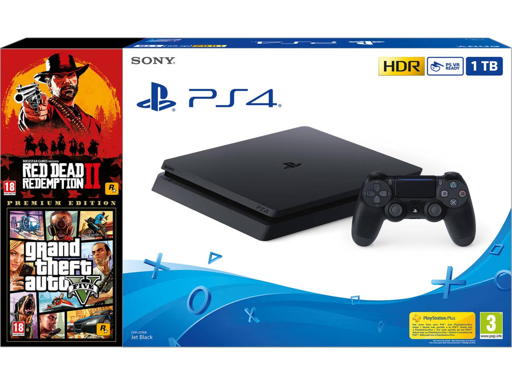 Consola PS4 + Juegos RDR2 y GTA V (1TB - Premium Edition - Negro)