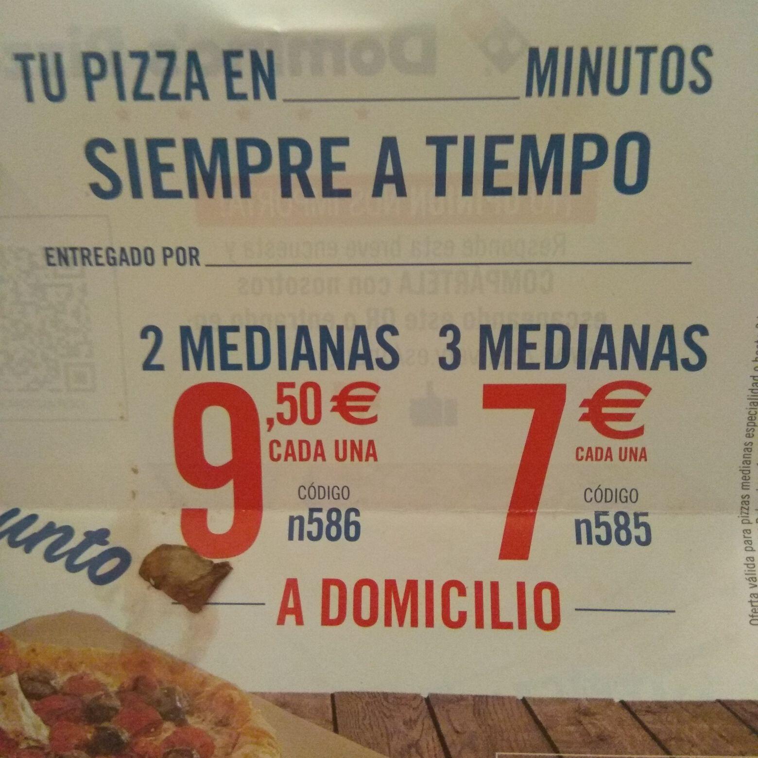 3x7€ cada Mediana Dominos Pizza