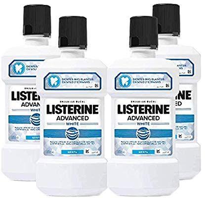 Listerine, Enjuague Bucal Blanqueador Avanzado , 4 X 500 ml, Pack de 4