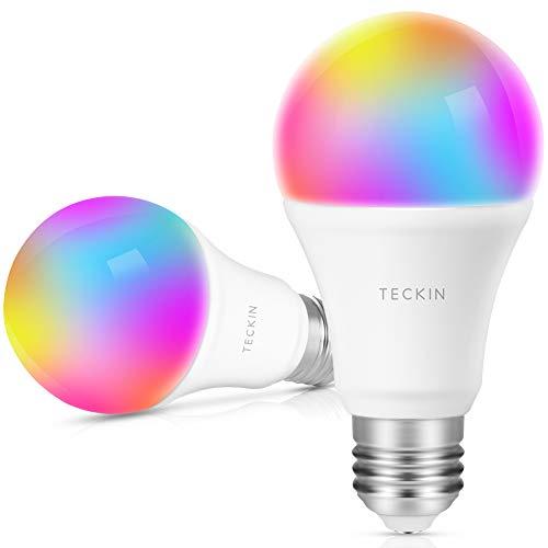 TECKIN Bombilla LED inteligente WiFi ,lámpara multicolor Funciona con Google Home y IFTTT, E27 60W RGBW equivalente7.5W, 2 bombillas
