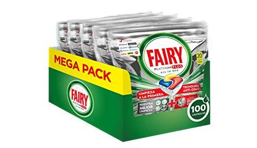 Pack 100 cápsulas (5 x 20) Fairy, Pastillas Lavavajillas Platinum Plus por 15,49 €